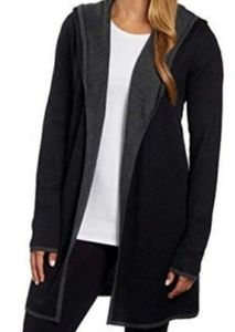 BNCI by Blanc Noir black Wool hooded Cardigan